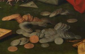 Detalle monedas pintura
